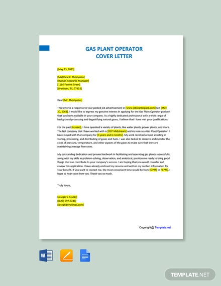 Free Gas Plant Operator Cover Letter Template