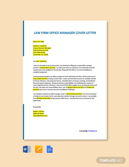 Free Law Firm Office Manager Cover Letter Template
