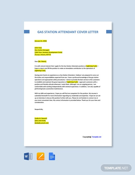 Free Gas Station Attendant Cover Letter Template
