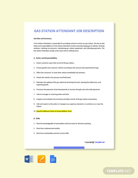 Free Gas Station Attendant Job Description Template