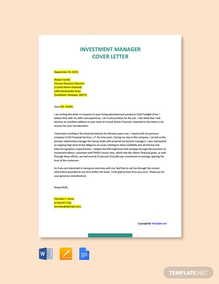 Free Investment Manager Cover Letter Template