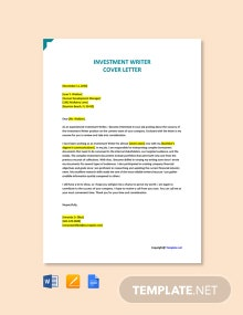Free Investment Writer Cover Letter Template