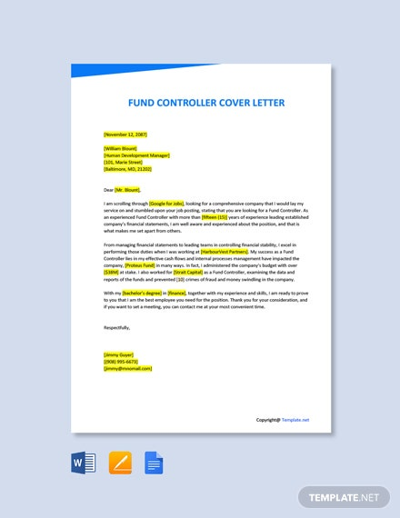 Free Fund Controller Cover Letter Template