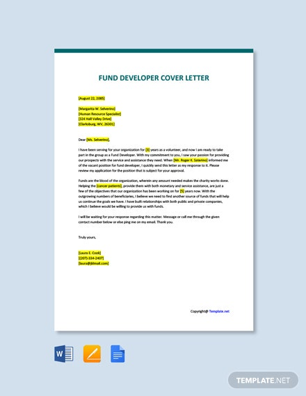 Free Fund Developer Cover Letter Template