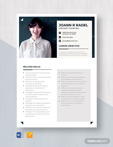 Aircraft Painter Resume Template