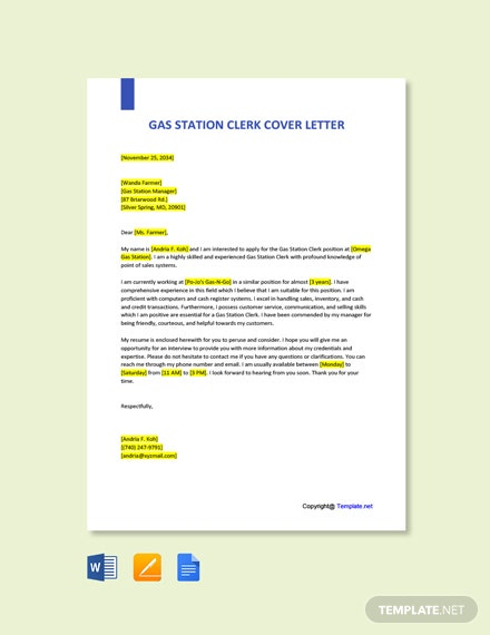 Free Gas Station Clerk Cover Letter Template