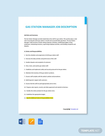 Free Gas Station Manager Job Description Template