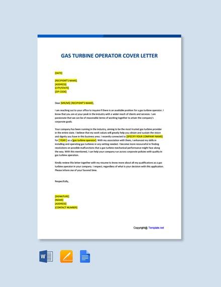 Free Gas Turbine Operator Cover Letter Template
