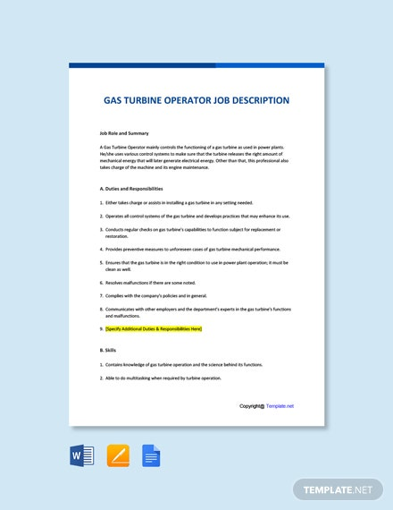 Free Gas Turbine Operator Job Ad and Description Template