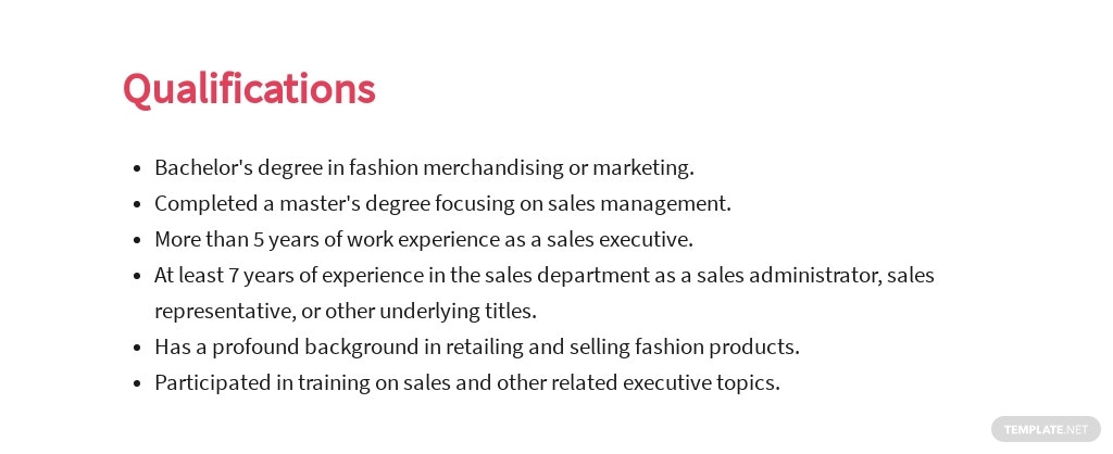 Free Fashion Sales Executive Job Ad and Description Template 5.jpe