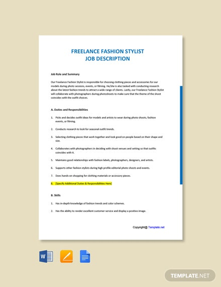 Free Freelance Fashion Stylist Job Description Template