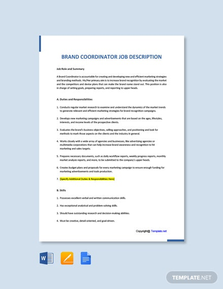 Free Brand Coordinator Job Ad and Description Template