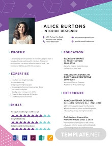 One Page Resume for Experienced Template
