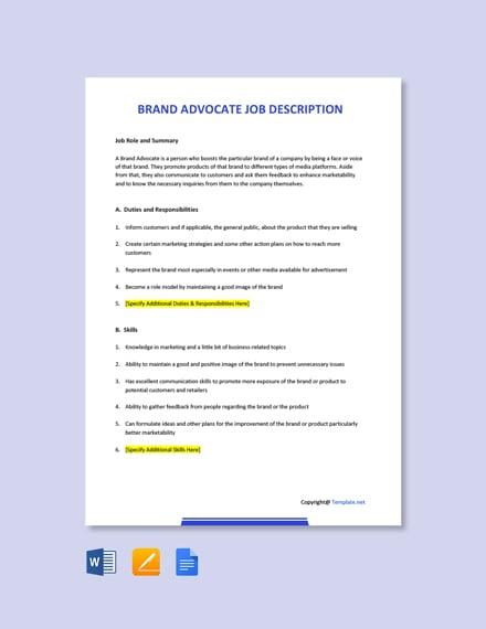 Free Brand Advocate Job Description Template
