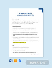 Free Oil and Gas Project Manager Job Ad and Description Template