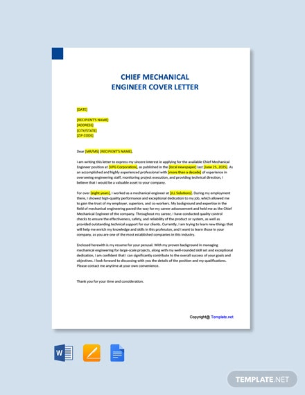 Free Chief Mechanical Engineer Cover Letter Template