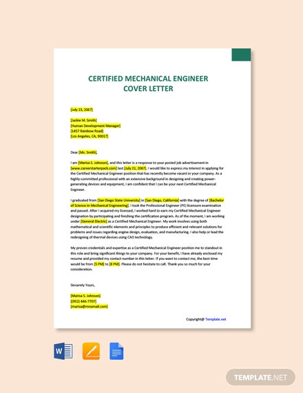 Free Certified Mechanical Engineer Cover Letter Template