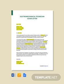 Free Electromechanical Technician Cover Letter Template