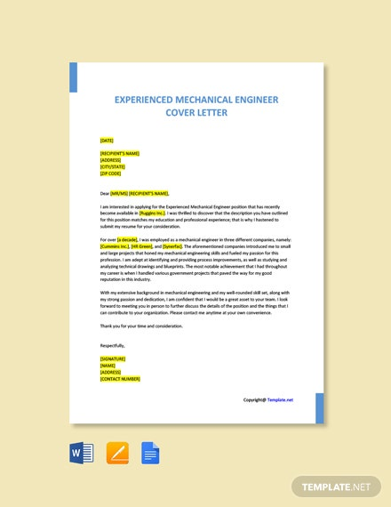 Free Experienced Mechanical Engineer Cover Letter Template