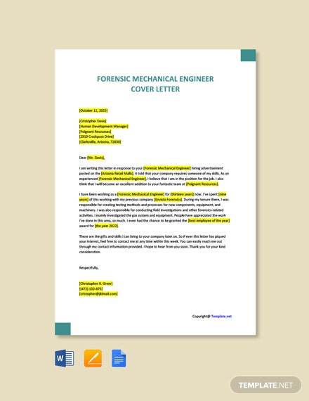 Free Forensic Mechanical Engineer Cover Letter Template