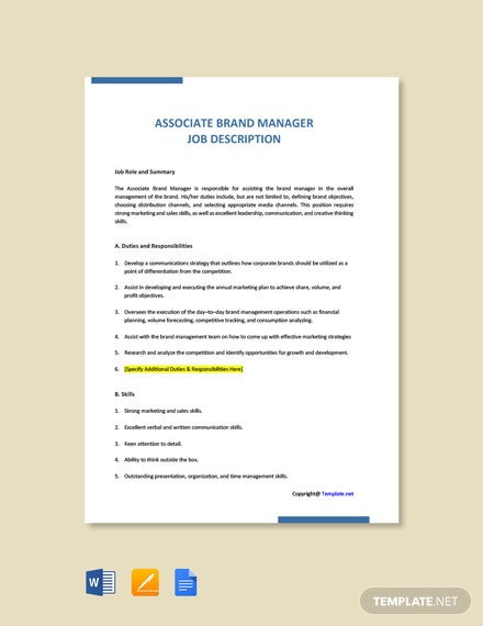 Free Associate Brand Manager Job Ad and Description Template