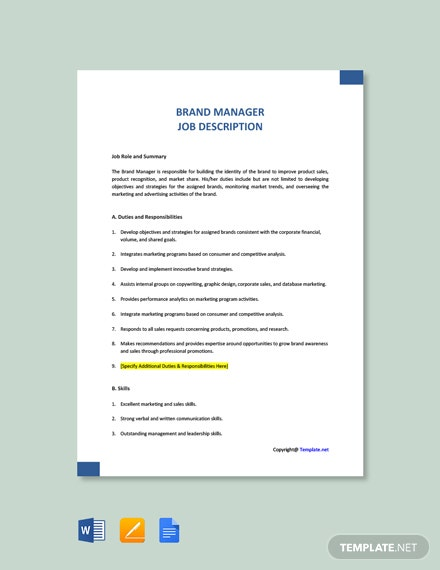 Free Brand Manager Job Ad and Description Template