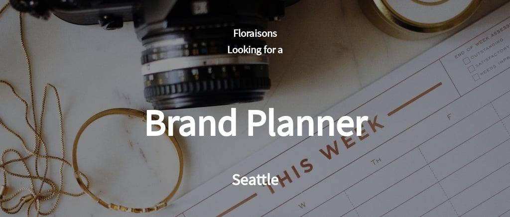 Brand Planner Job Ad and Description Template