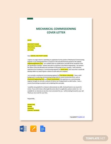 Free Mechanical Commissioning Engineer Cover Letter Template