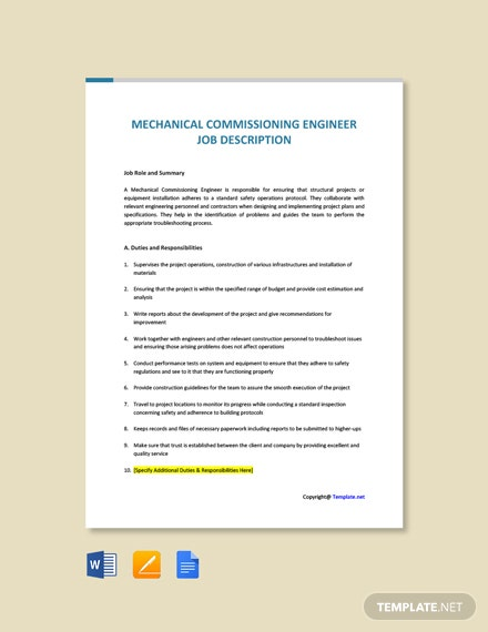 Free Mechanical Commissioning Engineer Job Description Template