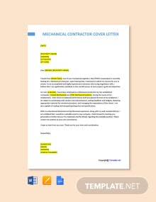 Free Mechanical Contractor Cover Letter Template