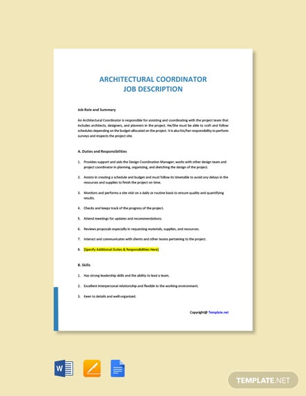Free Architectural Coordinator Job Ad and Description Template