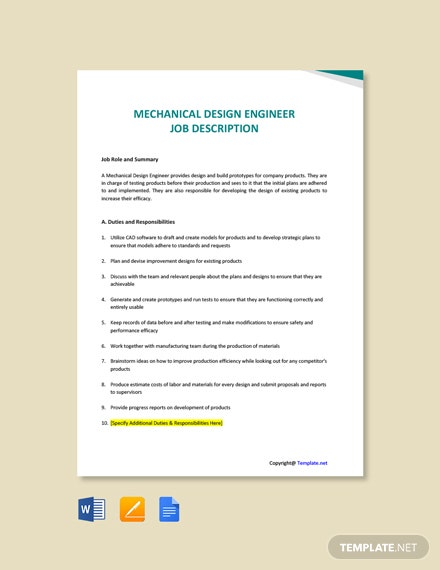 Free Mechanical Design Engineer Job Description Template