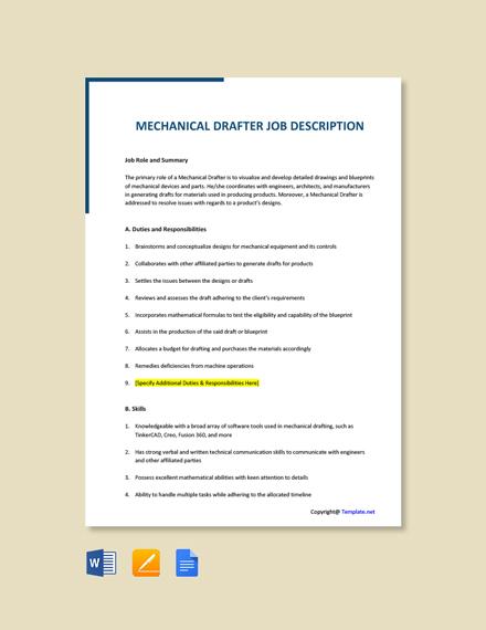 Free Mechanical Drafter Job Description Template