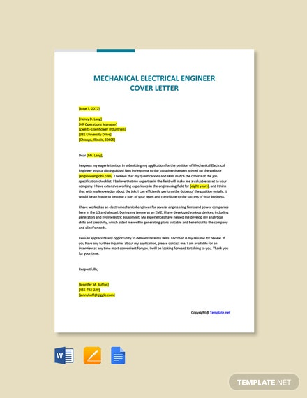 Free Mechanical Electrical Engineer Cover Letter Template