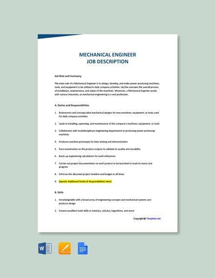 Free Mechanical Engineer Job Description Template