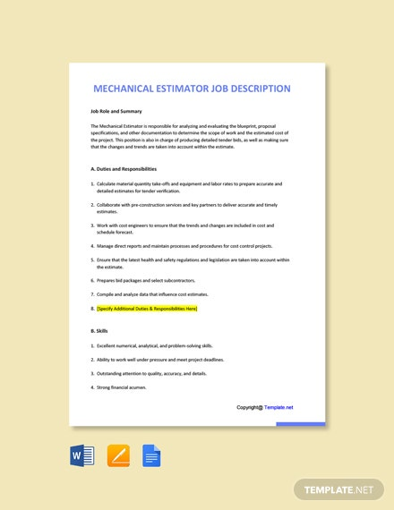Free Mechanical Estimator Job Ad and Description Template