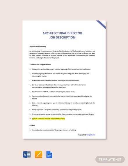 Free Architectural Director Job Ad and Description Template