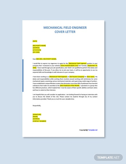 Free Mechanical Field Engineer Cover Letter Template