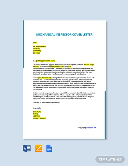 Free Mechanical Inspector Cover Letter Template