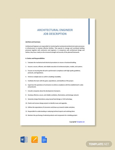 Free Architectural Engineer Job Ad/Description Template