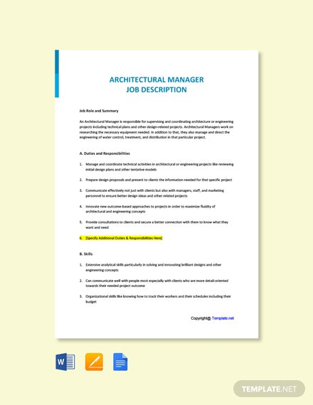 Free Architectural Manager Job Ad/Description Template