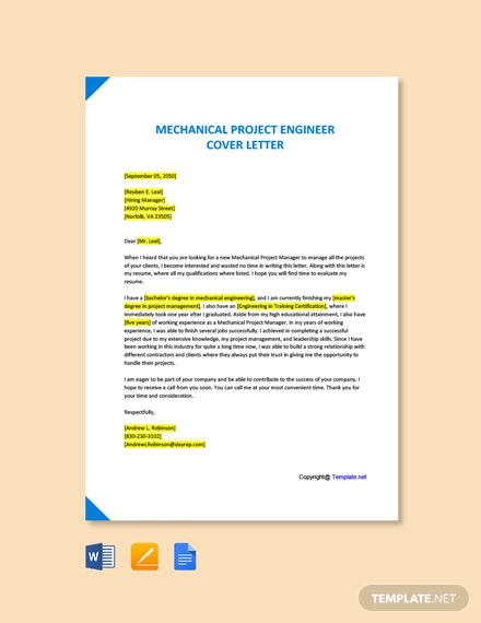 Free Mechanical Project Engineer Cover Letter Template