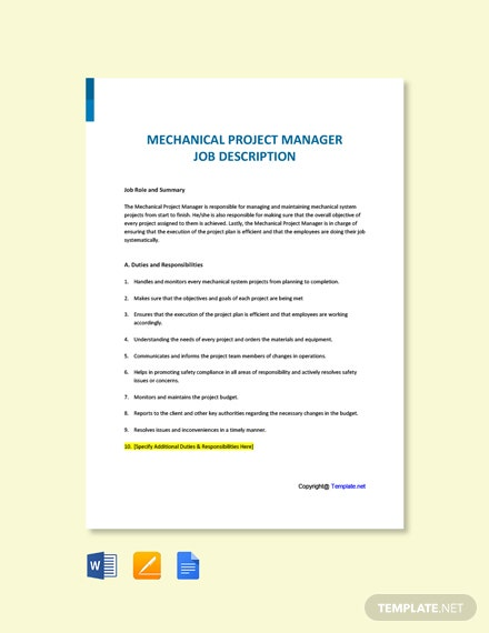 Free Mechanical Project Manager Job Ad/Description Template