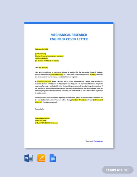 Free Mechanical Research Engineer Cover Letter Template