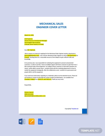 Free Mechanical Sales Engineer Cover Letter Template