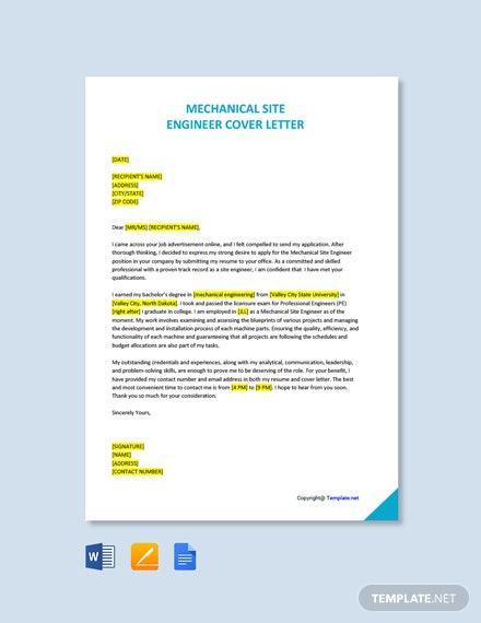 Free Mechanical Site Engineer Cover Letter Template