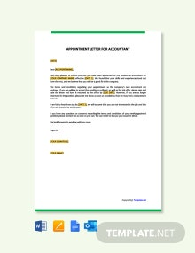 Free Appointment Letter for Accountant Template