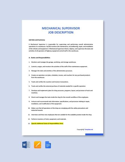Free Mechanical Supervisor Job Description Template