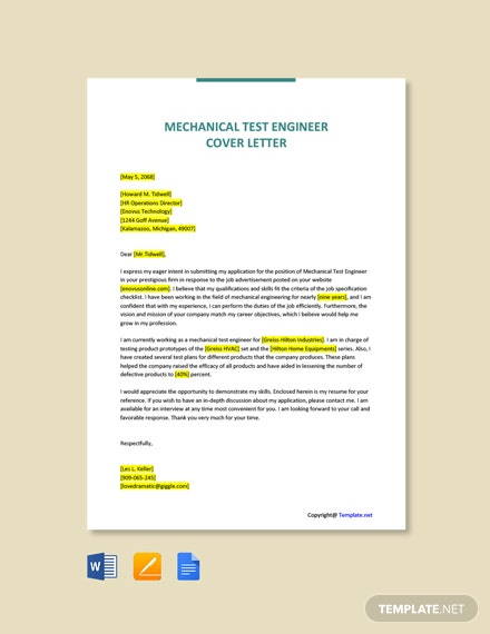 Free Mechanical Test Engineer Cover Letter Template