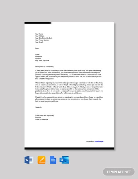 Free Appointment Letter for General Manager Template